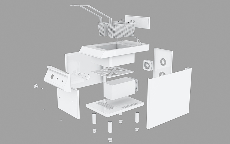 3D of commercial induction fryer